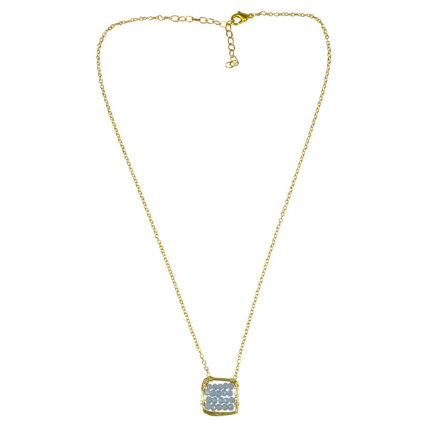 NuNu Gold Filled Square Blue Chalcedony Center Necklace