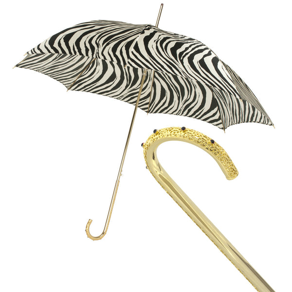 Pasotti  Automatic Umbrella SAMPLE, Zebra Pattern, Ornamental Gold Handle