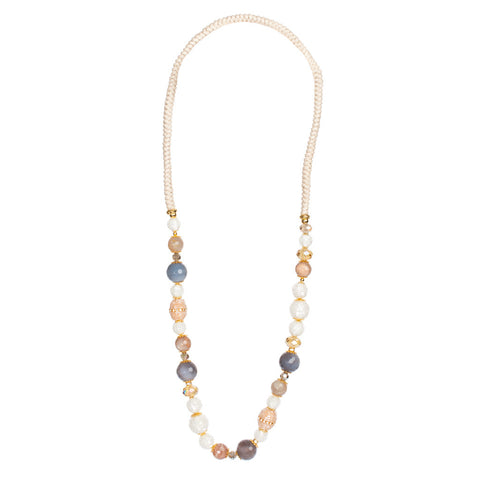 White, Peach, & Purple Beaded & Agate Necklace