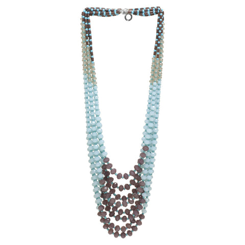 Multi Strand Beaded & Crystal Necklace Aqua, Purple, Grey, Red