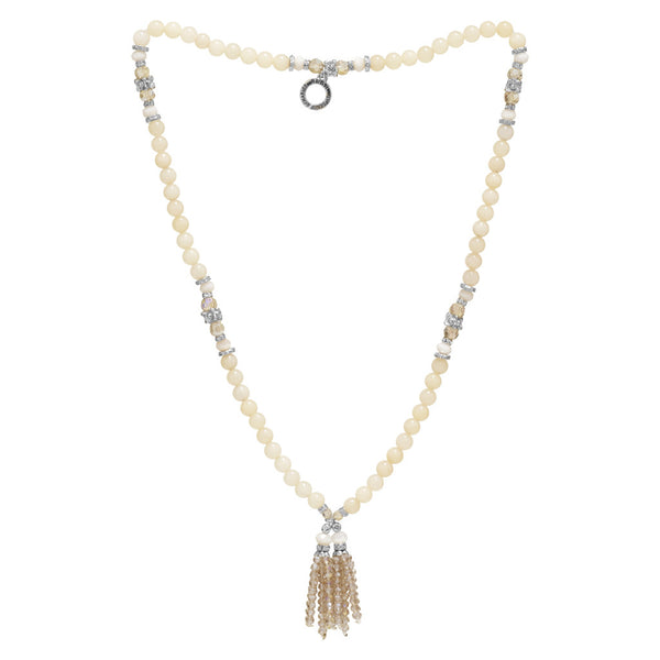 Multi Stone Large Tassel Necklace