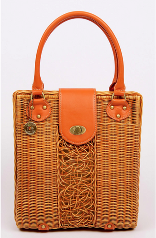 Purse for the People Rattan and Orange