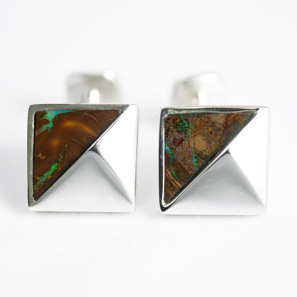 Sterling Silver with Opal Cuff Links MATTE