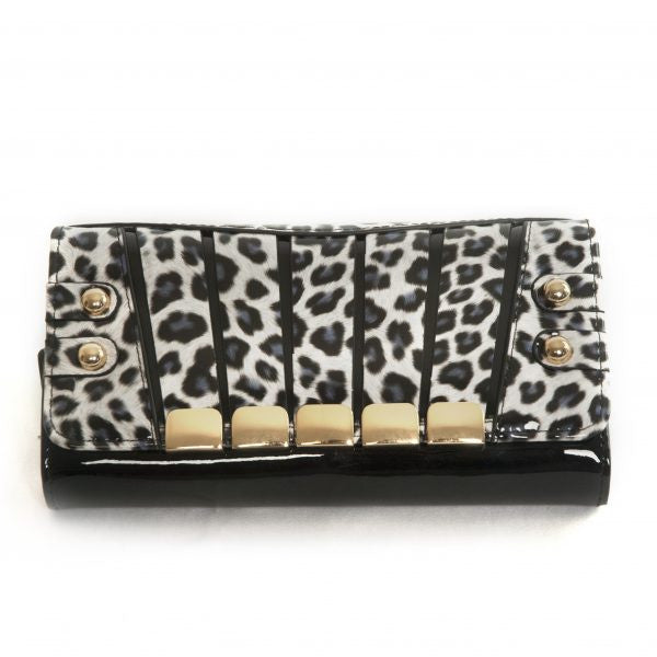 Bravo Irina White Panther Leather Ladies Wallet Large
