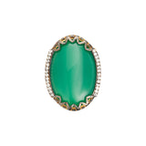 Azaara 22K gold dipped green onyx ring, side view
