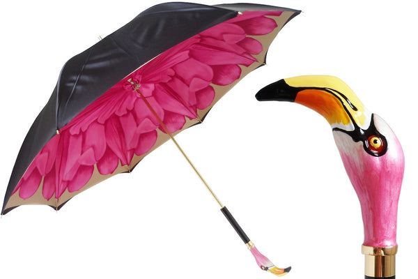 Pasotti Black and Tan Umbrella w/pink Dahlia, Flamingo Bird Handle