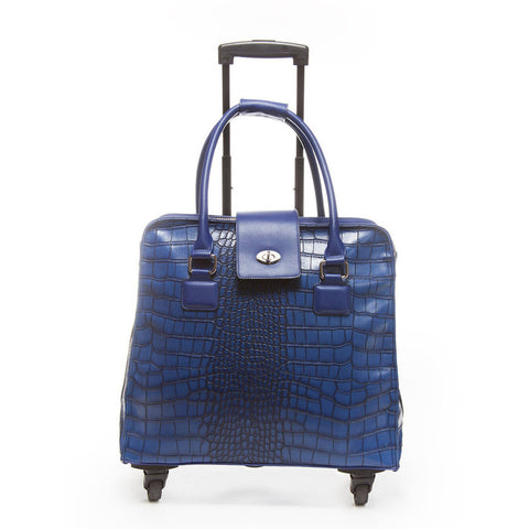 Hang Harlequin Blue Crocodile Rolling Trolley Bag