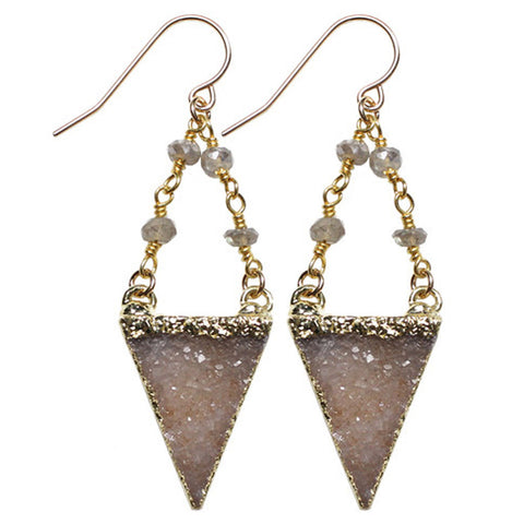Charme Triangle Druzy on Rosary Chain Earring