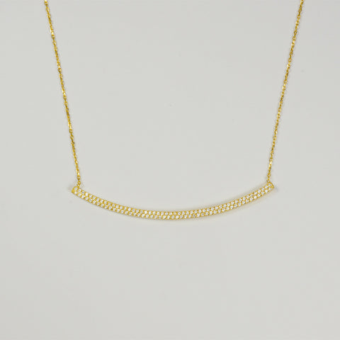 G2G Designs  Gold Crystal Curved Bar Necklace