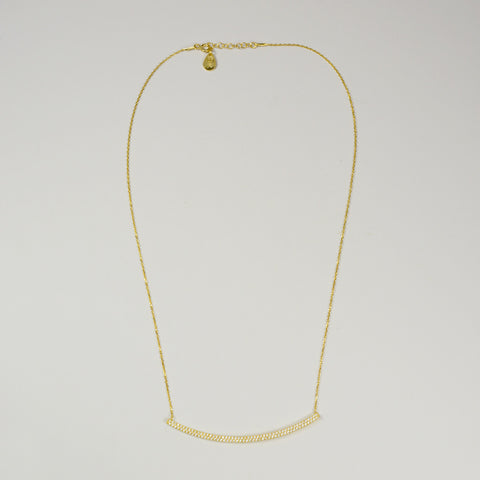 G2G Designs  Gold Crystal Curved Bar Necklace - The Passionate Collector