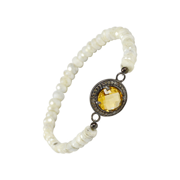 G2G Stretch Bracelet with Citrine Center Stone and Diamonds with Silverite Beads
