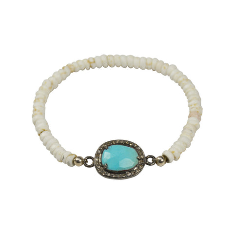 G2G Stretch Turquoise and Diamond bezel Bracelet - The Passionate Collector