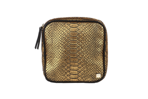 Hudson+Bleecker Gold Embossed Python Stella Jewelry Case