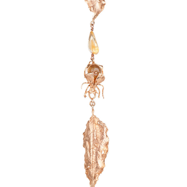 Wynn Wynn Ong 24K Rose Gold Vermeil Plated Sterling with Bug on Leaf Necklace