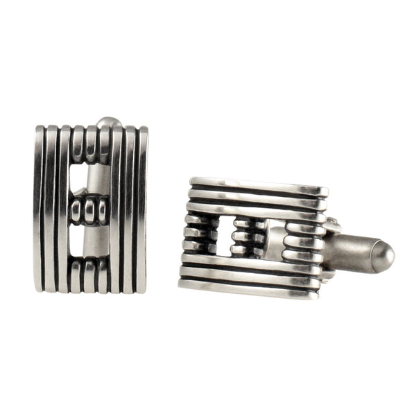 Sterling Silver Open Rectangle with Lines Cuff Links