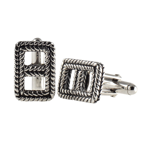 Sterling Silver Braided Open Rectangle Cuff Links