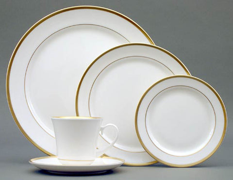 Pickard Gold Rim 5PPS (includes monogrammed salad plate & cup)