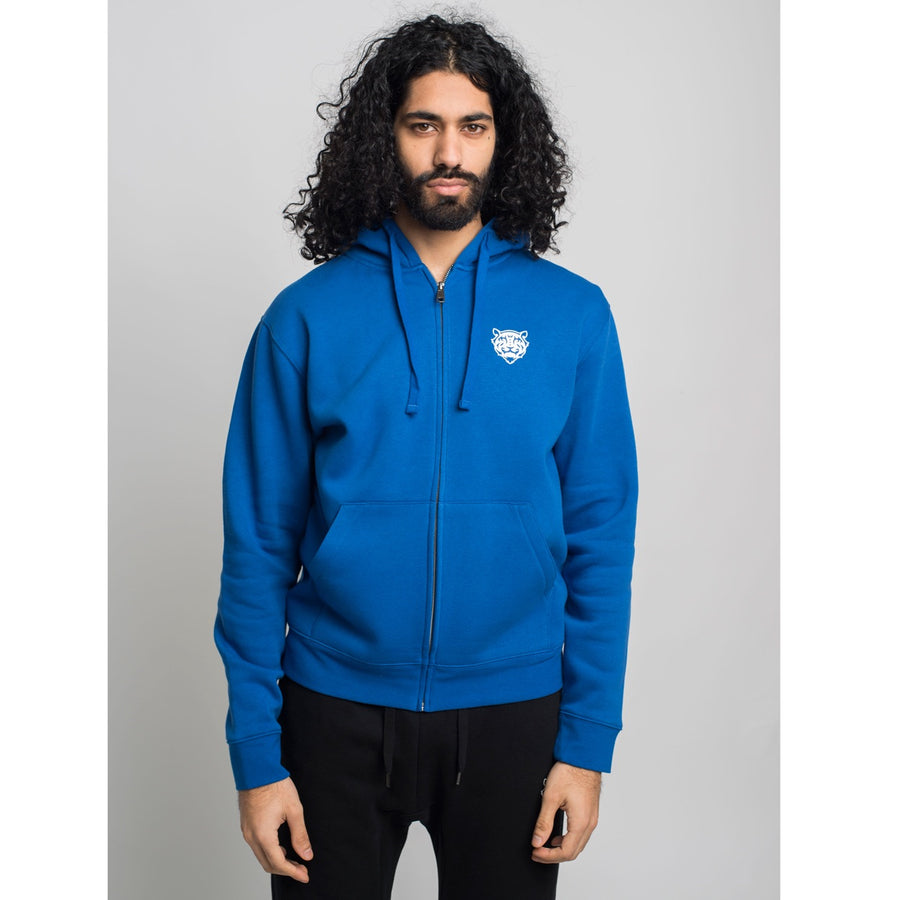 Tiger Logo Zip Hoodie Royal Blue