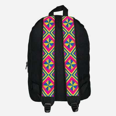 Phulkari Pattern Backpack Yellow/Blue/Pink