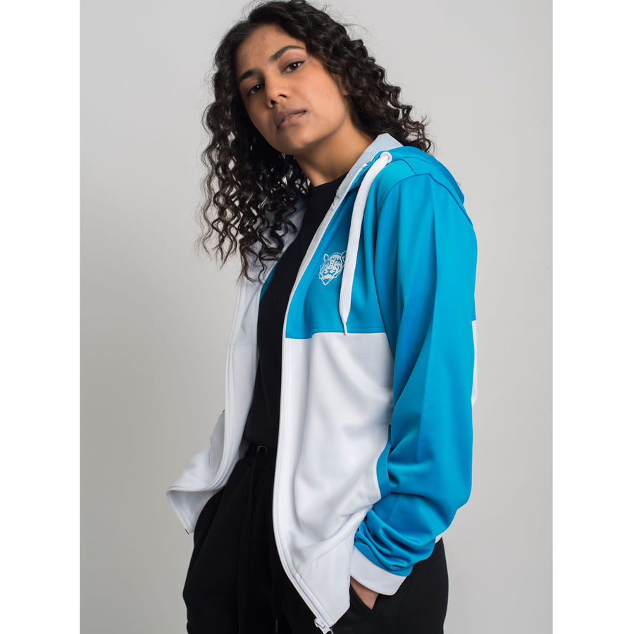 Tiger Logo Retro Zip Hoodie Blue/White