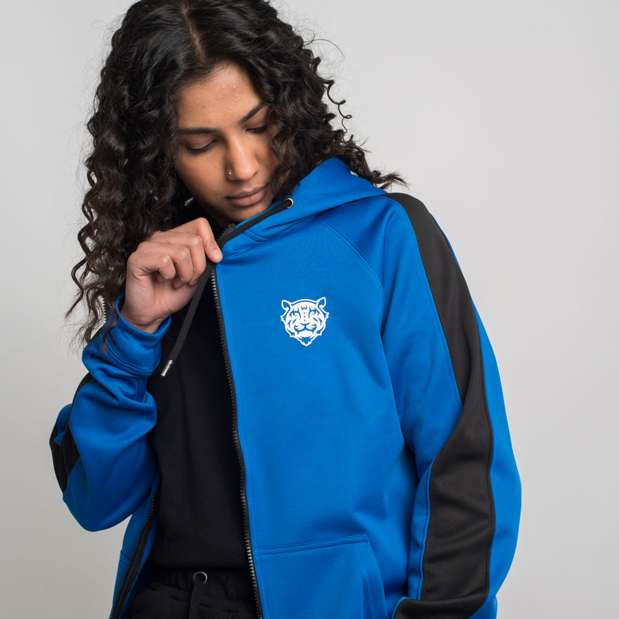 Tiger Logo Sport Zip Hoodie Royal Blue