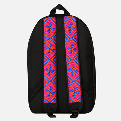 Phulkari Pattern Backpack Pink/Blue/Orange