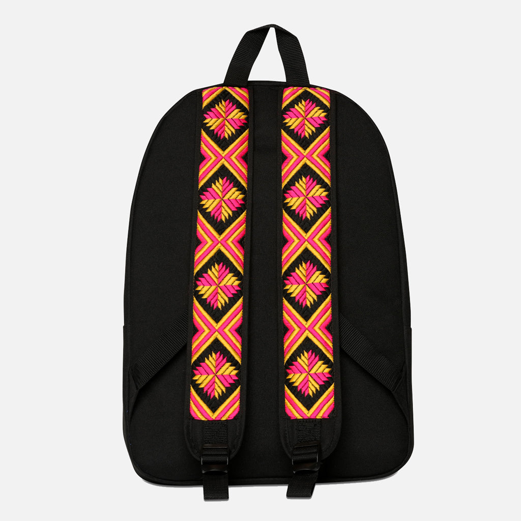 Phulkari Pattern Backpack Pink Yellow Black - Wootz Life 4132d0b09c0ed