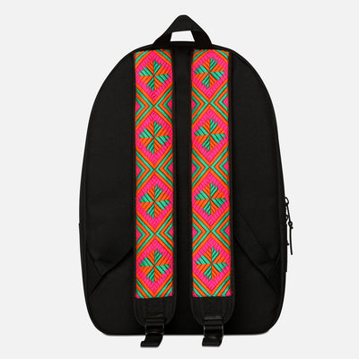 Phulkari Pattern Backpack Orange/Green/Pink