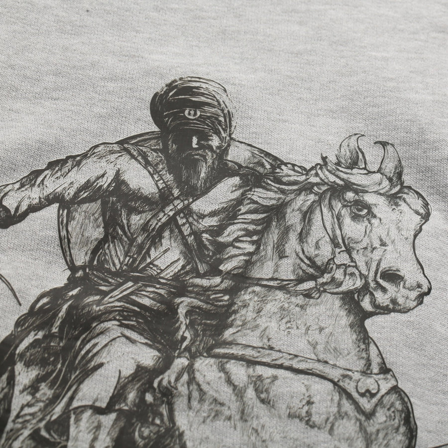 Warrior on Horseback Sweatshirt Heather Grey