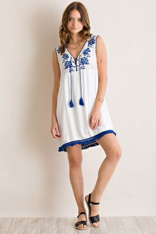Peasant embroidered dress