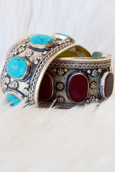 Carnelian Inlay Gypsy Cuff - pinkandsilverfashion  - 4