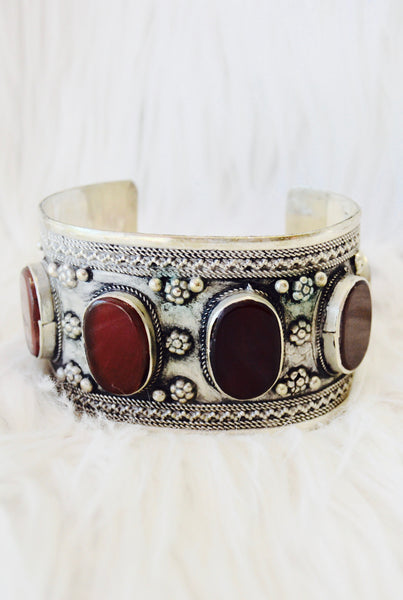 Carnelian Inlay Gypsy Cuff - pinkandsilverfashion  - 2