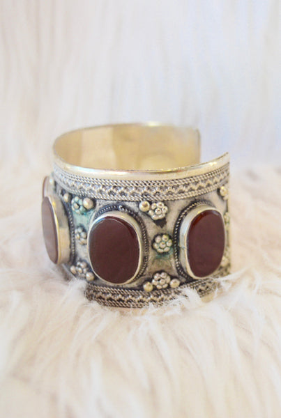 Carnelian Inlay Gypsy Cuff - pinkandsilverfashion  - 3