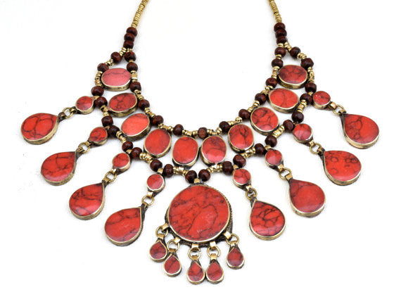 Vintage Coral Statement Necklace - pinkandsilverfashion  - 3