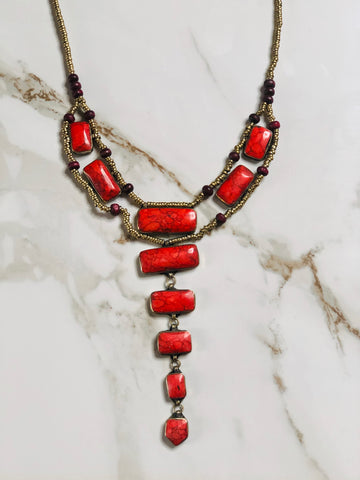 Coral Tier Drop Vintage Necklace