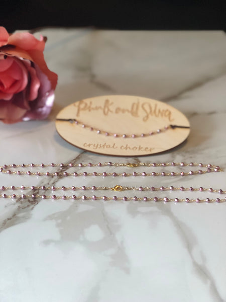 Rose Gold Pyrite Dainty Crystal Choker