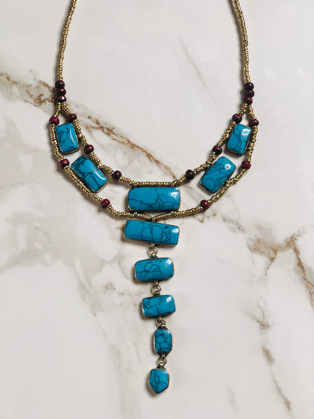 Turquoise Tier Drop Vintage Necklace