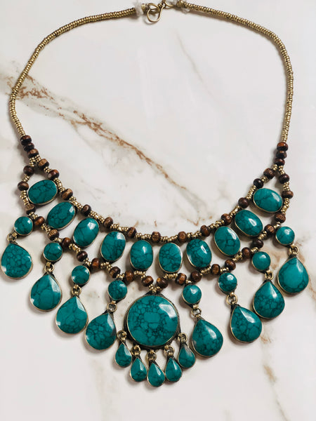 Vintage Green Turquoise Statement Necklace