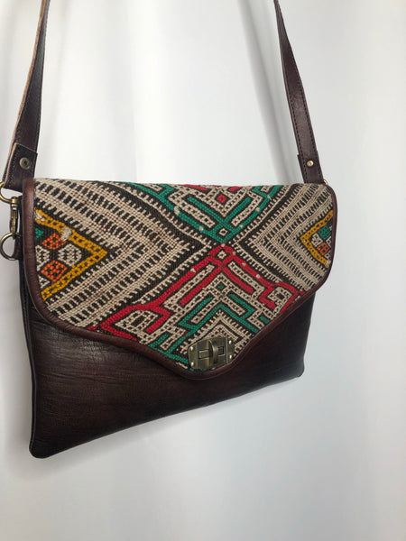 Kilim Leather Clutch Crossbody (Brown)
