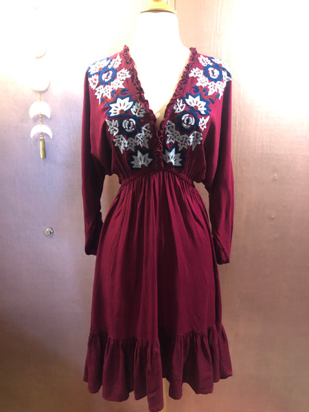 Bella Embroidered Midi Dress (Wine)