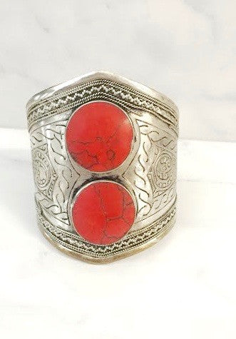 Double Stone Gypsy Cuff - pinkandsilverfashion  - 1