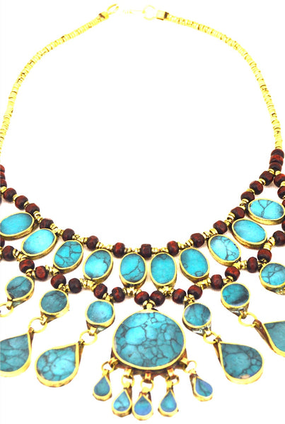 Vintage Blue Turquoise Statement Necklace - pinkandsilverfashion  - 1