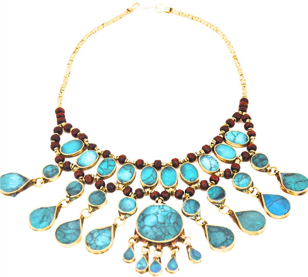 Vintage Blue Turquoise Statement Necklace - pinkandsilverfashion  - 2