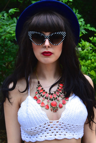 Vintage Coral Statement Necklace - pinkandsilverfashion  - 1
