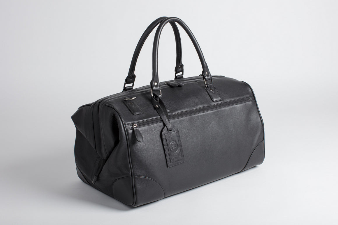 Black leather holdall doctors bag
