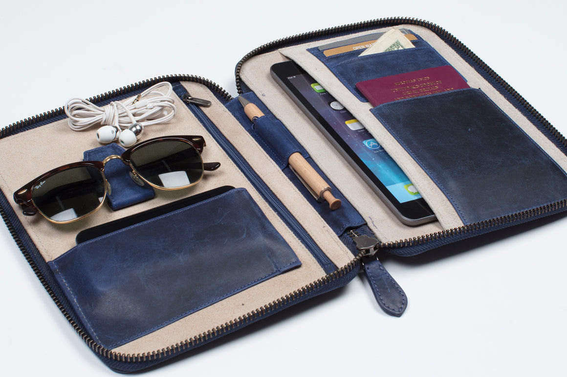 Travel Wallet Organizer - Deep Blue (3 sizes)