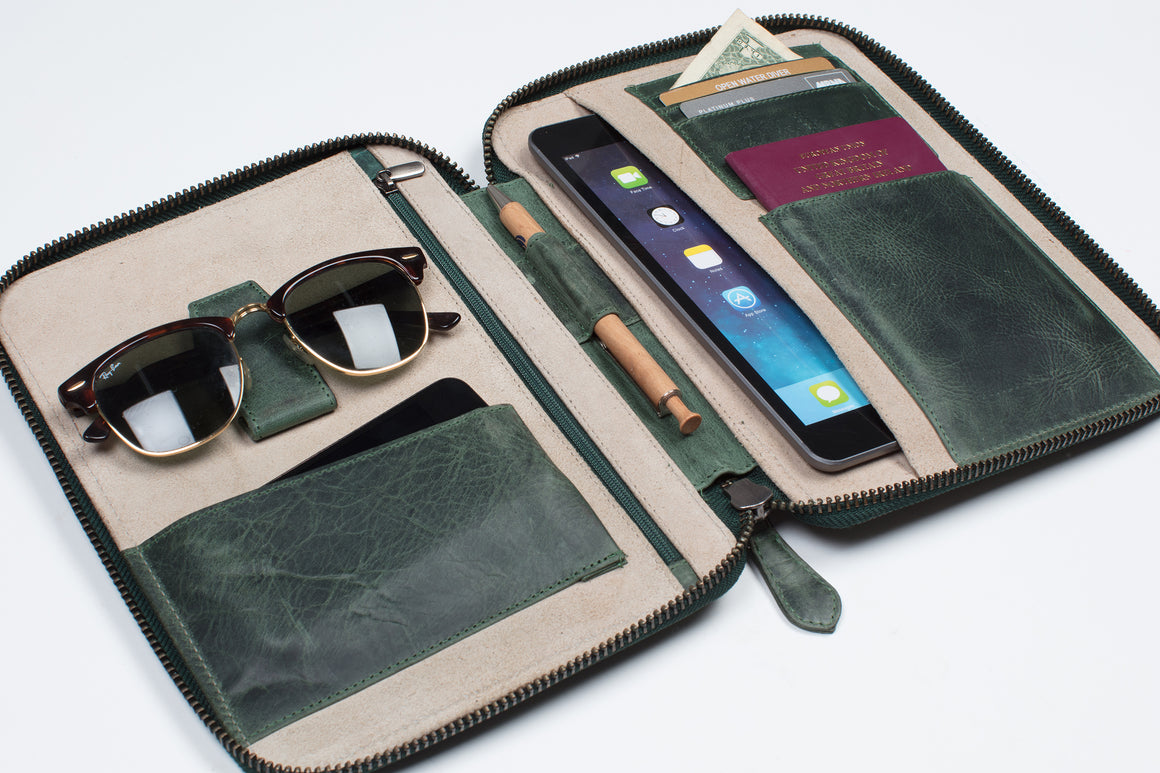 Travel Wallet Organizer - Chesterfield Green (3 sizes)
