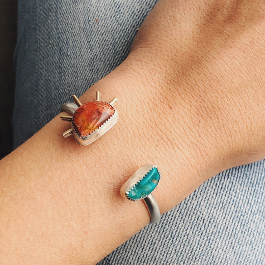 Turquoise and Fire Opal Sun Ray Cuff / II