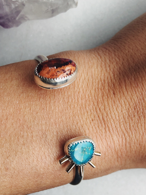 Turquoise and Fire Opal Sun Ray Cuff