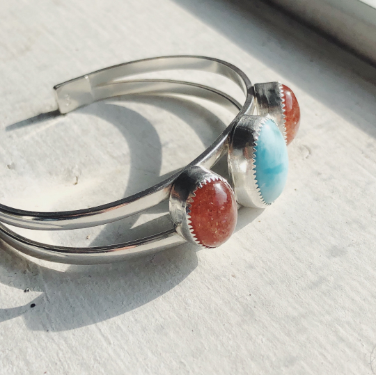 Larimar and Sunstone Triple Stone Cuff